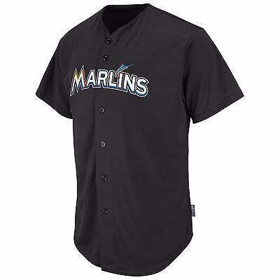 Majestic Adult MLB Cool Base Pro Style Game Miami Marlins Jersey, Black