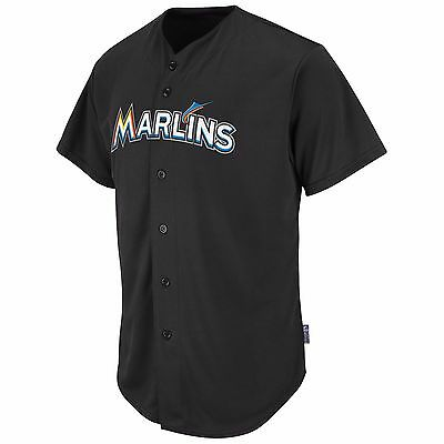 NEW Majestic Adult MLB Cool Base Pro Style Game Miami Marlins Jersey, Black