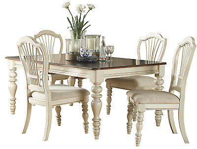 French Country Dining Table and 4 Chairs Antique White 5 pc Dining Set HI