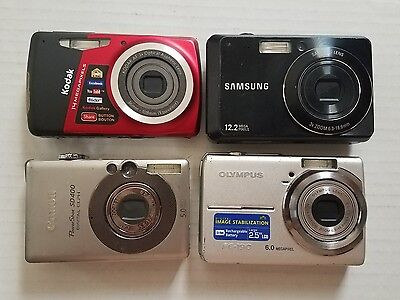 Lot 4 AS IS Untested/For Parts Digital Cameras Kodak, Canon, Samsung,  Olympus