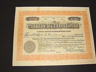 1920 Turnbow Oil Corporation Delaware Stock Certificate Vintage