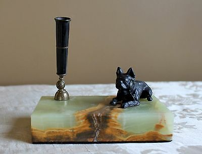Staffordshire Bull Terrier Green Marble PEN HOLDER Pit Bull Cast Iron Bakelite?