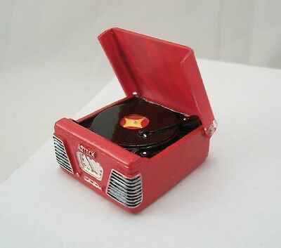 """1950S RECORD PLAYER / Turntable - Red - miniature music 1"""" scale T8531 dollhouse"""