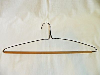 Vintage Clothes Hanger Wire with Wooden Rod Bar