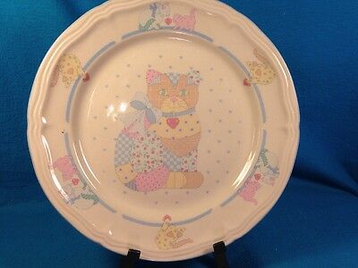 """Tienshan Stoneware Calico Cat 10.5"""" Dinner Plate Scalloped Edges Discontinued"""