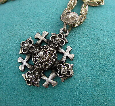 Estate Vintage Rare Sterling Silver Jerusalem Cross Byzantine 25.5 Gram Necklace