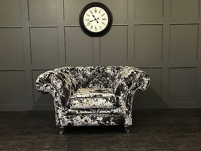 Fabric Chesterfield Chair Silver Premium Crushed Velvet Avaliable In 52 Colours