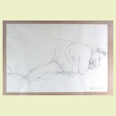 "Barbara Seigel Framed Signed Original Charcoal Drawing Nude Woman Art 22"" x 17"""