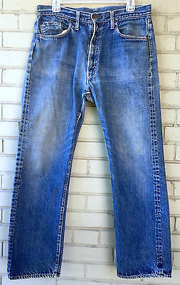 VTG Levi's Big E 502 Talon Zip 6 Button Redline Selvedge Single Stitch Jeans USA