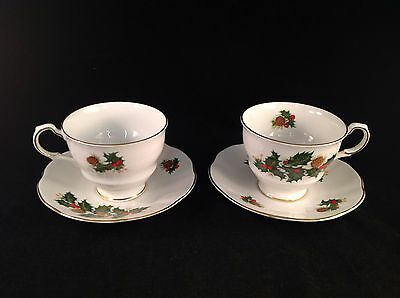Royal Crest Holiday Holly Fine Bone China Tea Cup & Saucer, 2 Sets