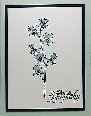 Stampin Up Handmade Card Sympathy Condolence Blue Flower Combined Shipping