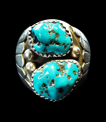 Sterling Two Stone Turquoise Ring  - Navajo Handmade