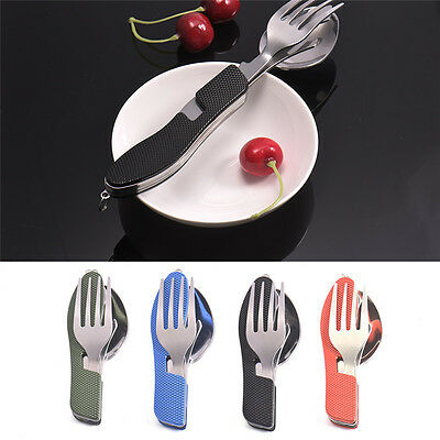 4In1 Portable Travel Picnic Stainless Steel Cutlery Folding Cut Fork Spoon Sets