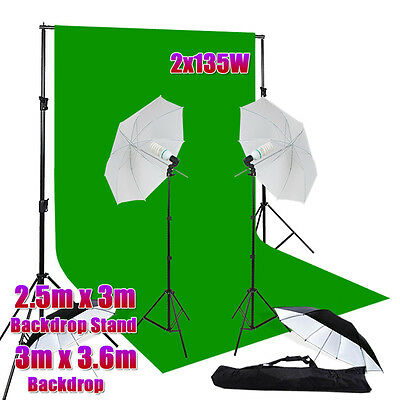 "1350W Photo 33"" Umbrella Lighting Green Screen Muslin Backdrop Light Stand Kit"