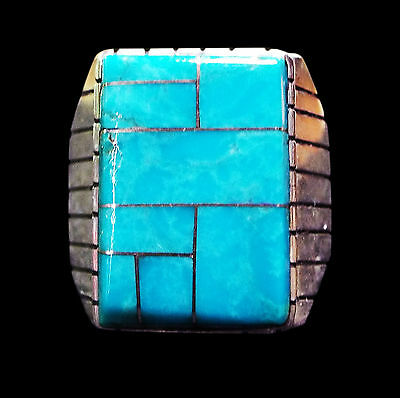 Rectangular Turquoise Channel Sterling Ring  - Navajo Handmade