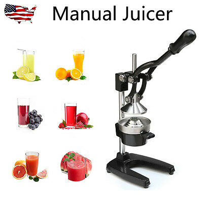 Hand Press Manual Juicer Commercial Fruit Orange Citrus Squeezer Stainless Steel