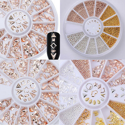 Rose Gold Rhinestones Rivet Studs 3D Nail Art Decoration In Wheel Steel Bead DIY