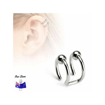 NEW 1X Non-Piercing Double Ring with Bead AUS STORE Helix, Cheater, Faker
