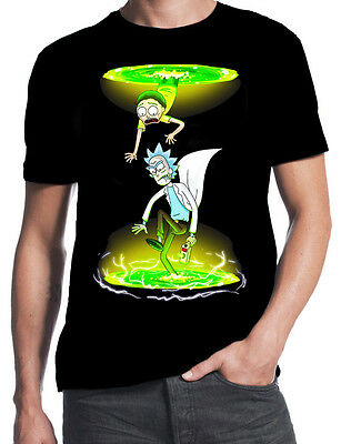 Rick And Morty Portal Gun Schwifty Slime Cartoon Science Humour Black T-Shirt