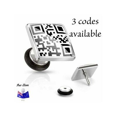 NEW 1X Coded Message Fake Plug AUS STORE Cheater, Earring