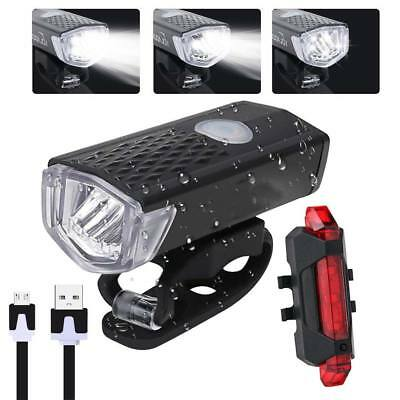 USB Rechargeable LED Bike Bicycle Cycling Headlight Front Light Tail Rear Lamp