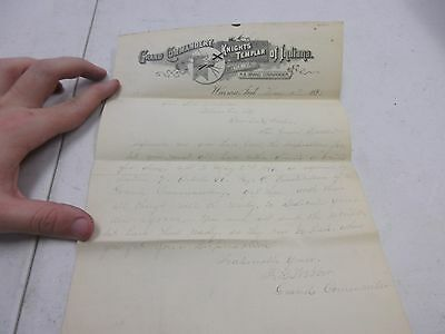 Antique Commandery Letter from the Knights Templar 1891 Uniform letter