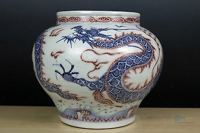 Fine Beautiful Chinese Blue and white glaze red porcelain Dragon Pot