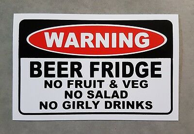 Beer Fridge Warning sticker - funny beer sticker for your beer fridge..