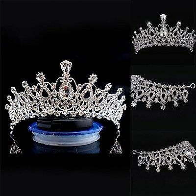 Pageant Rhinestone Crystal Bridal Tiara Wedding Crown Headband Flower Headpiece