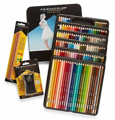 PrismaColor Premier Soft Core 132 Colour Pencils Sharpener Colourless Blenders