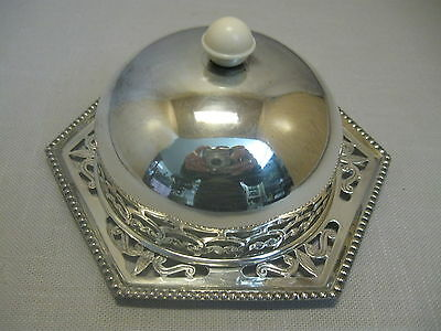 Celtic Silver Plate Butter Cheese Bowl Ep on BR Celluloid Handle 1940