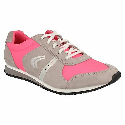 Girls Clarks Pink Combi Suede Lace Up Sports Trainers Shoes Size Super Leap