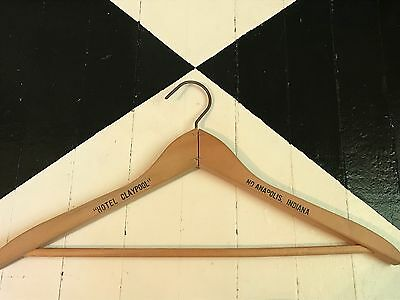 Vintage Wooden Advertising Clothing Coat Hanger HOTEL CLAYPOOL Indianapolis, IN