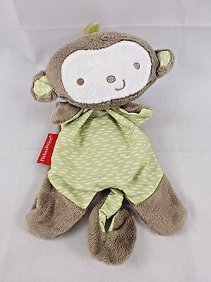 """Fisher Price Monkey Lovey Clip On Rattle Plush Security Blanket 8"""""""