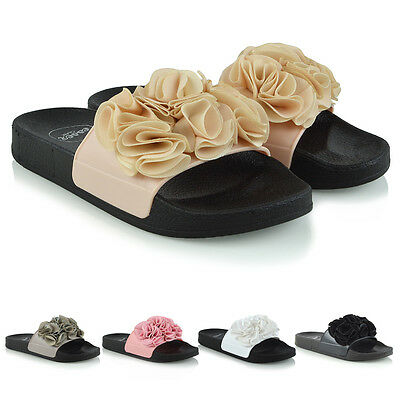 Womens Slider Flat Slip On Rubber Ladies Ruffle Mules Holiday Comfy Casual Shoes