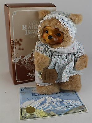 VTG Numbered LE Robert Raikes SUSIE Wood Face Collectible Teddy Bear in Box COA