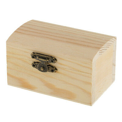 Cambered Natural Unfinished Wood Storage Box Case for Kids Toys DIY Crafts