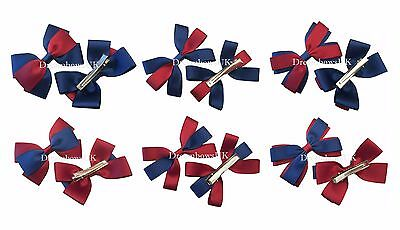 Burgundy and navy blue school hair bows/accessories, alligator clips or bobbles
