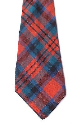 Vintage 1950s Possibly 1940s Pure Wool Neck Tie Red, Green, Multi Plaid FREE P&P