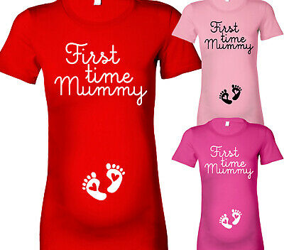 Womens First Time Mummy Maternity T-Shirt Pregnancy Top Shower Gifts