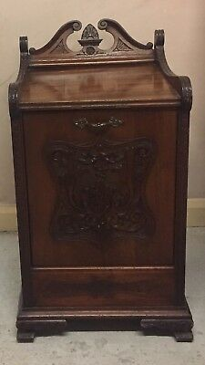 "Edwardian Mahogany Coal Purdonium With Carrying Handle  V G C 15""W 28""H"