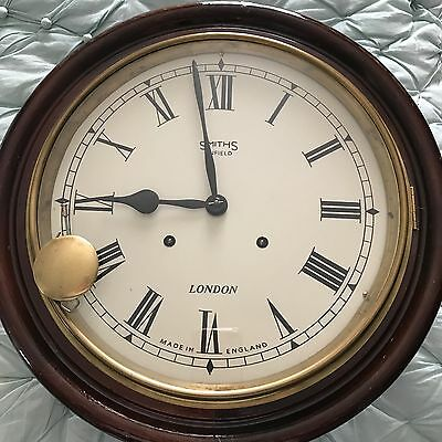Station Clock, Antique 8 Day Striking Wall Clock, Smiths of Enfield