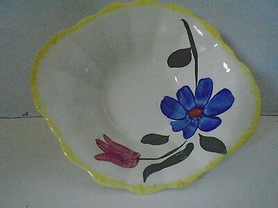 Blue Ridge Southern Pottery Sun Bouquet Oval Bowl with Lip Hand Painted Flower