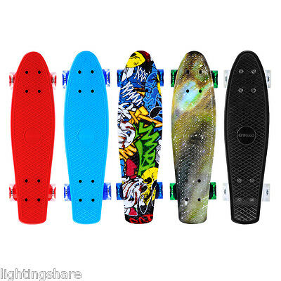 "22"" Mini Skateboard Complete Cruiser Retro Board Fishboard Deck Plastic Outdoor"