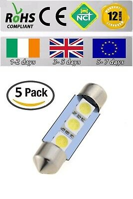 5x 12V DC 36mm 3 LED 5050 SMD C5W 6418 CANBUS Error Free Dome Light Bulb