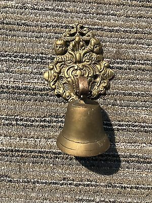 Antique Ornate Solid Brass Hanging Dinner Call Door Bell Vintage Wall