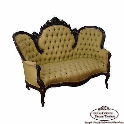 Antique 19th Century Victorian Carved Rosewood Settee Loveseat