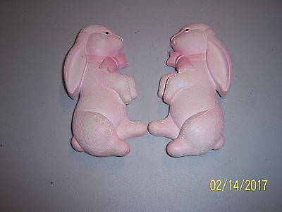 Vintage Chalkware Bunny Wall Plaque Nursery Easter Pink Set of Two