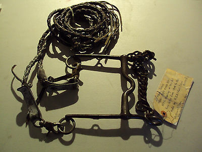 Curb Horse Bit with Long Reins, US Cavalry Issue Model 1909, Antique Horse Tack