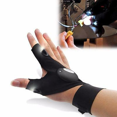 Outdoor Fishing Gloves Fingerless Magic Strap With LED Flashlight Rescue Tools